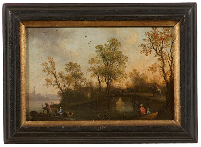 Dutch School A winter scene with figures and houses on a village road; A river landscape with figures and cattle crossing a bridge  (a pair) each 6 x 9 1/4in