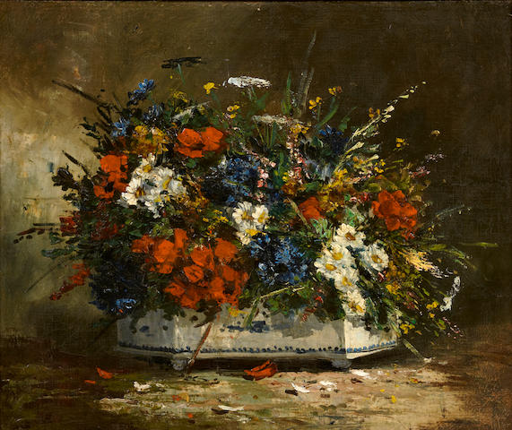 Studio of Eugène Henri Cauchois (French, 1850-1911) A still life with a bouquet of flowers 21 x 25 1/2in