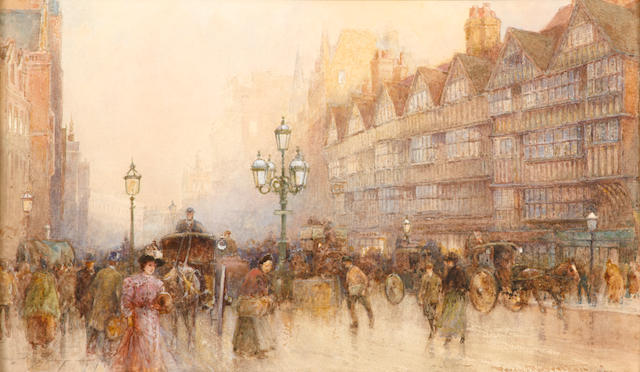 Percy Robertson (British, 1868-1934) High Holborn, London sight 7 x 12in