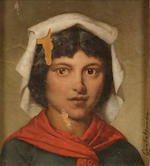 Cantalamessa A portrait of a young girl; A portrait of a young man; together with three portraits by other hands (a group of five) first and second 7 x 6 1/4in; third 6 x 4 1/2in;