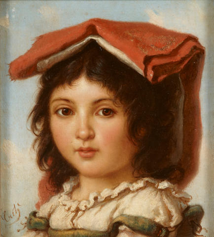 Italian School, late 19th Century  A portrait of a young boy; together with four paintings by the same hand (a group of 5) each 7 x 6 1/4in