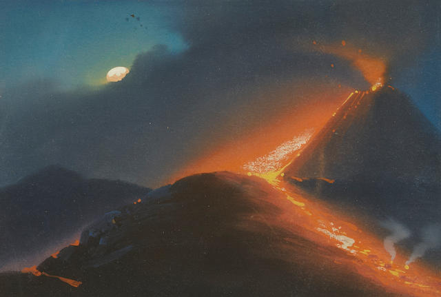 Neapolitan School, late 19th Century The eruption of Mt. Vesuvius (a group of five) each 5 x 7 1/2in