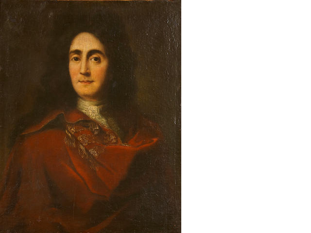 Continental School, 18th Century A portrait of a gentleman in a red cloak, half-length 28 1/4 x 22 1/4in