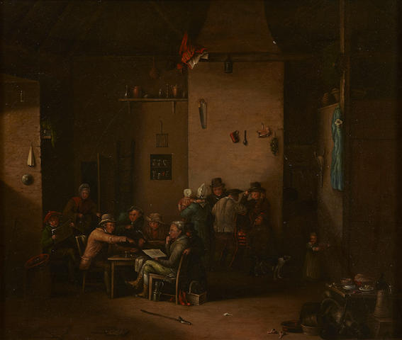 English School manner of David Wilkie? A tavern interior 12 x 14in