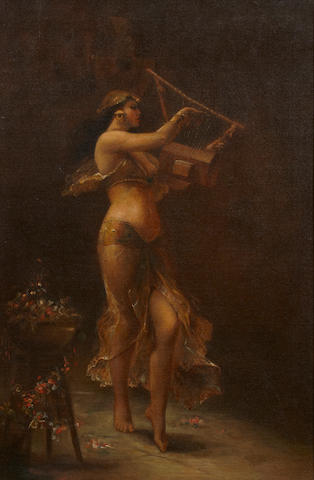 French School A dancer with a lyre 30 x 20in