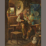 L. Urban (German/Austrian) An old man with cigar and beer stein; together with a painting of a similar subject (a pair) each 10 1/2 x 8 1/2in