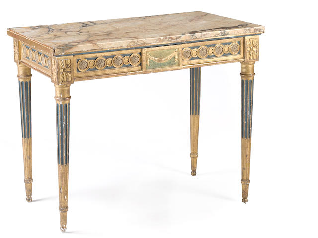 An Italian Neoclassical style painted and parcel giltwood side table late 19th century