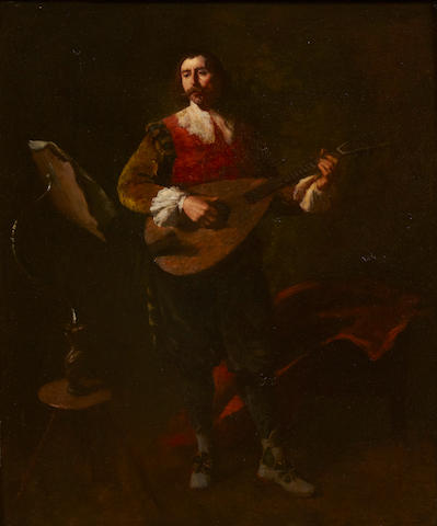 Italian School The lute player 22 x 18 1/2in