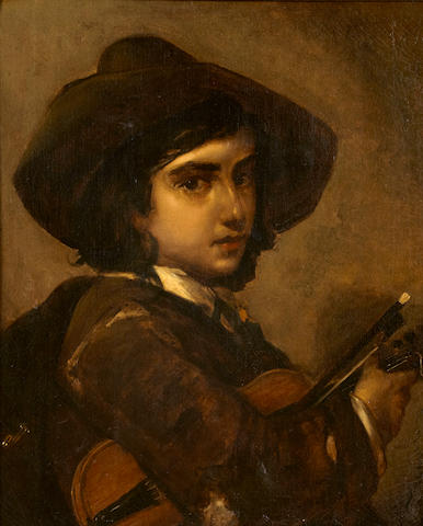 Italian School A boy with a violin 23 1/4 x 19 1/4in