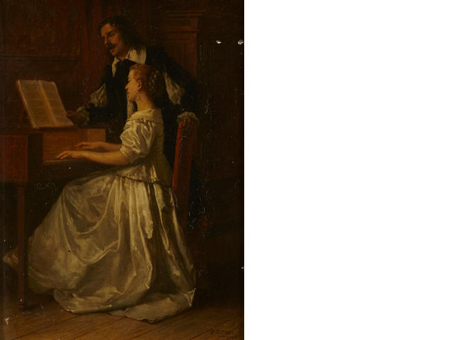 Benjamin Eugène Fichel (French, 1826-1895) The piano lesson 6 1/2 x 4 3/4in