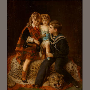 Henry Guillaume Schlesinger (French, 1814-1893) Les enfants  26 3/4 x 21 1/4in