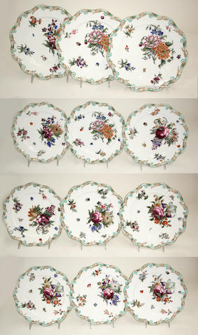 Twelve Coalport porcelain botanical dessert plates design registered January 27th, 1845