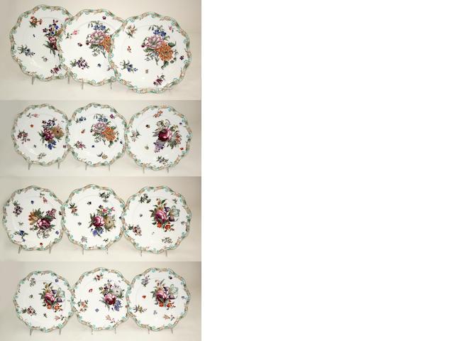 Twelve Coalport porcelain botanical dessert plates design registered January 27th, 1845