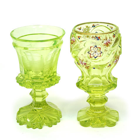 Two Bohemian vaseline glass spa goblets mid 19th century