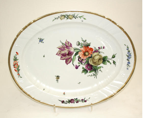 A Royal Copenhagen porcelain oval platter late 19th century
