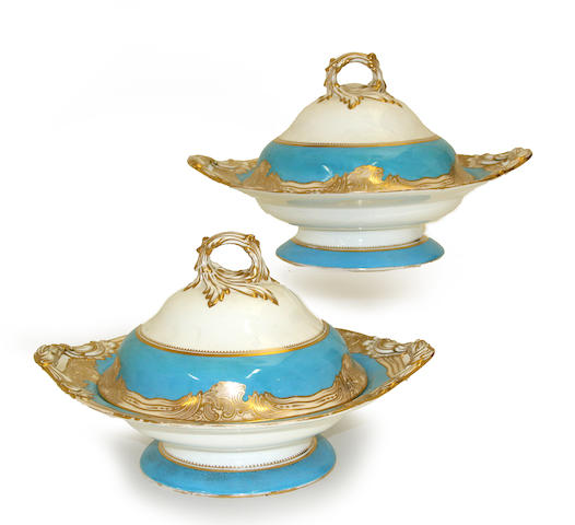 A pair of English porcelain two handled covered vegetable dishes third quarter 19th century