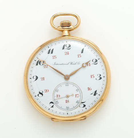 An 18k gold open face pocket watch, International Watch Co.