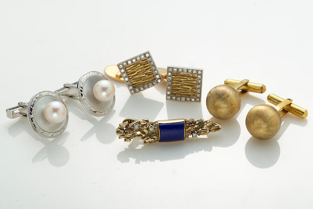 A collection of cultured pearl, mother-of-pearl, lapis lazuli, diamond, silver, 14k and 18k gold men's jewelry