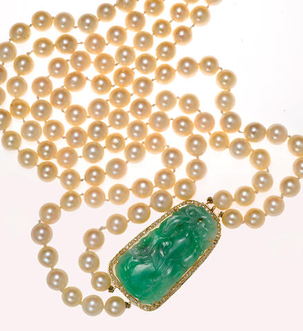 A cultured pearl, jadeite jade and diamond double strand necklace
