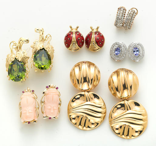 A collection of six pairs of coral, tanzanite, green cubic zirconia, enamel, diamond, 14k white and yellow and 18k gold earrings