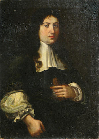 Genoese School, 17th Century A portrait of a cleric, half-length 35 x 26in unframed