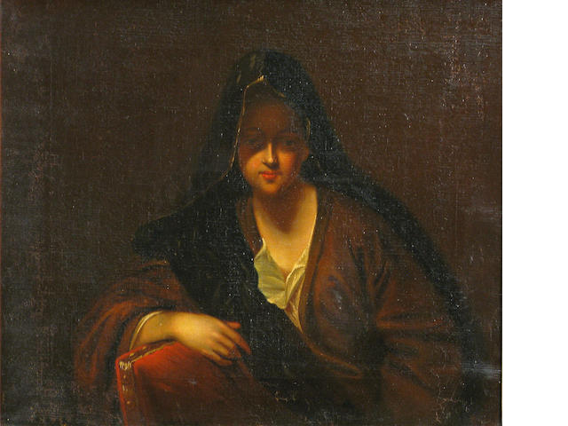 Italian School, SENDING TO BK A portrait of a woman in a veil 14 1/2 x 17in (36.8 x 43.2cm)
