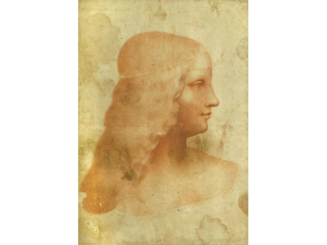 After Leonardo da Vinci, 18th(?) Century A portrait of Isabella d'Este 13 x 8 3/4in
