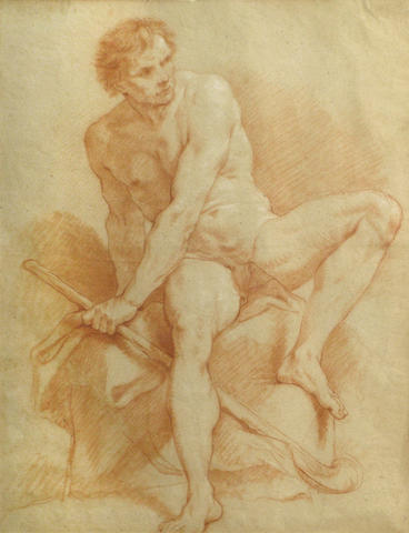 Italian(?) School, 18th Century A seated male nude 20 1/4 x 15 1/2in