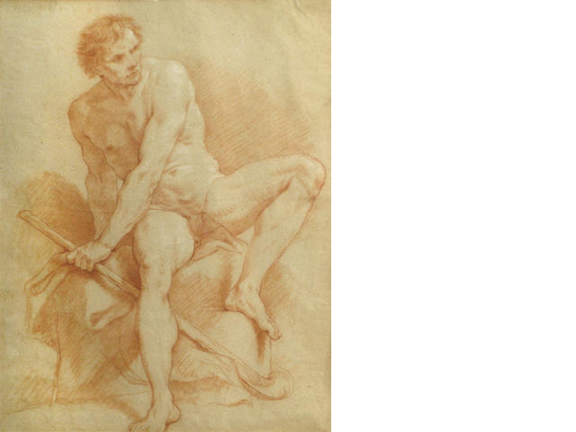 French School, 18th C., * Crispian * Academic nude, red chalk/pp