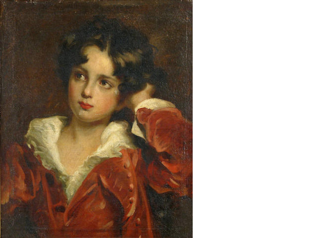 After Romney, Portrait of a boy in red suit