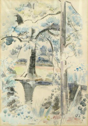Paul Nash, Landscape with pond, wc/pp, signed