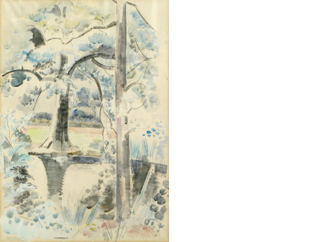 Paul Nash, Landscape with pond, wc/pp, signed