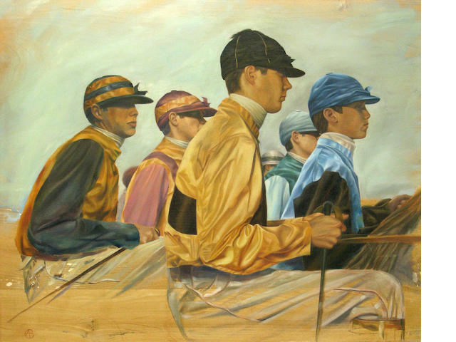 Alan Brassington, Jockey study, o/pnl, 38 x 34in