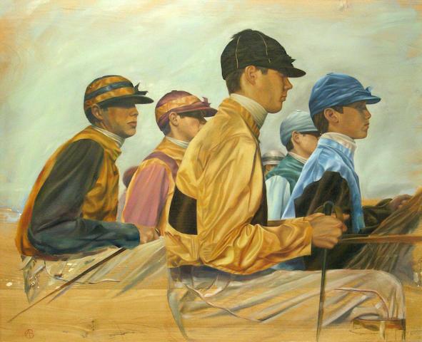 Alan Brassington, Jockey study, o/pnl, 38 x 34in
