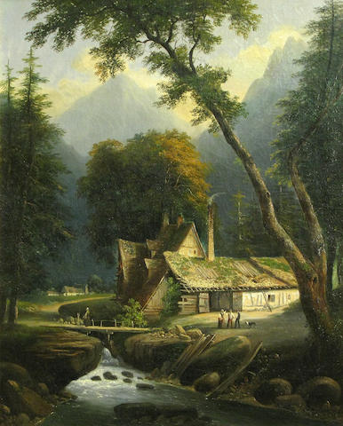 German School, 19th Century A mountainous landscape with figures near a farmhouse 28 3/4 x 23 1/2in