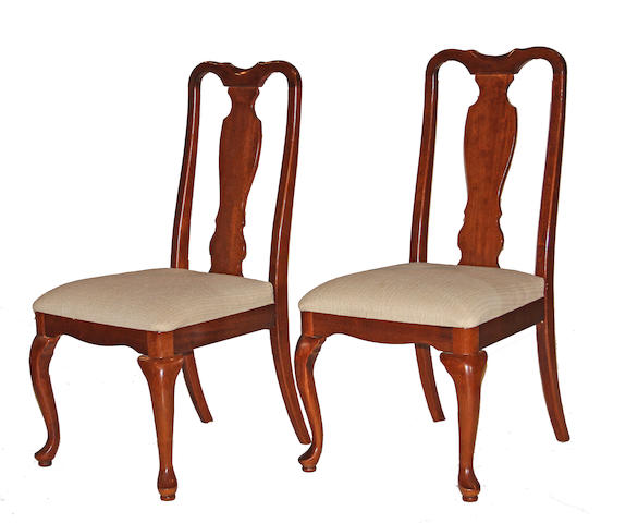 A set of ten Queen Anne style mahogany dining chairs 20th century