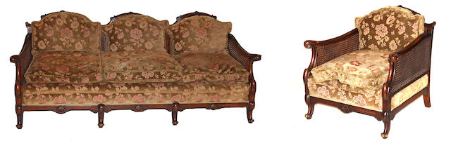 A suite of Queen Anne style walnut and caned seating furniture
