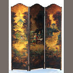 A Continental Baroque style three panel paint decorated canvas floor screen