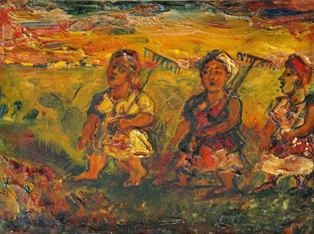David Burliuk (Russian/American, 1882-1967) Three peasant women 7 x 9in