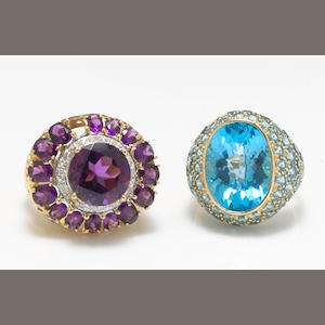 Two amethyst, blue topaz, diamond and 14k gold rings