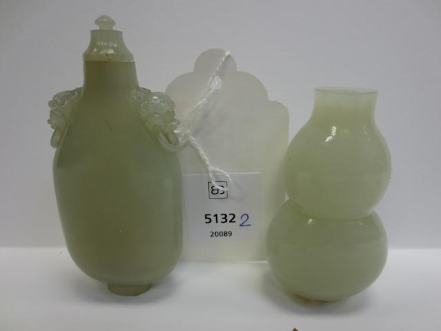 Two white jade snuff bottles  1800-1900