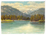 Paul A. Grimm (American, 1891-1974) Harbor with boats; Desert with mountains; Clear Lake - White Pass (3)