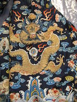 An embroidered midnight blue silk robe of state, chaopao 19th century
