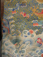 An imperial yellow embroidered silk twelve-symbol dragon robe Late Qing dynasty