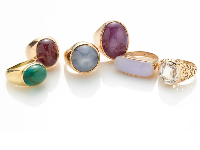 A collection of six gem-set, paste, synthetic spinel, 18k and 14k gold rings, including Faraone Mennella