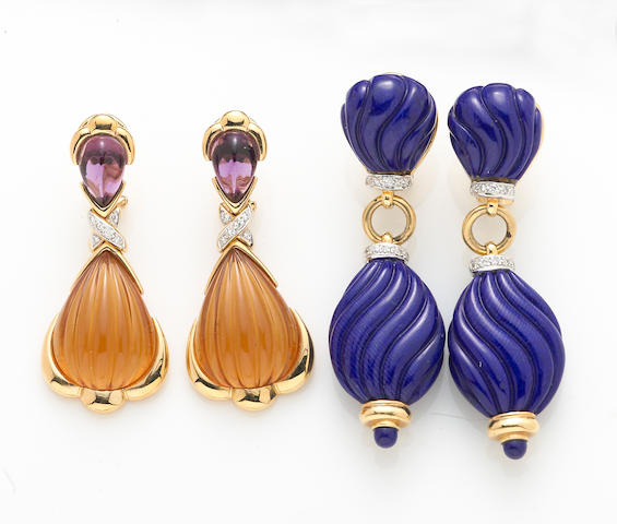 Two pairs of gem-set, diamond and 18k gold pendant earrings