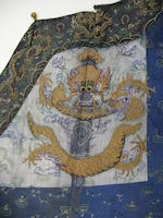 A blue summer gauze-ground embroidered dragon robe Late Qing dynasty