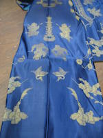 A  woman's blue ground brocade silk  informal overcoat, waitao Late 19th century