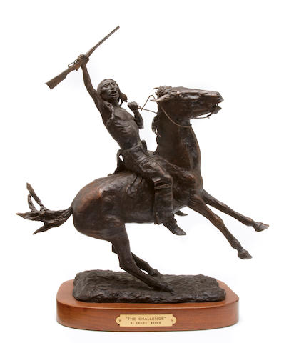 Ernest Berke (American, 1921-2010), The Challenge, 1961, signed and dated '1961', bronze, height 11 1/2in