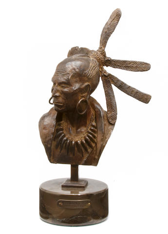 Harry Jackson (American, 1924-2011) (Study for) Algonquin Chief and warrior (1 piece), signed and dated '71', bronze, height 9 1/2in